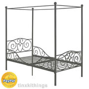 Girls Canopy Twin Bed Room Slat Support Heart Scroll Design Metal Frame Gray New