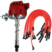 Red 90 Spark Plug Wires Hei Distributor And 10.5 Mm For Sbc Bbc 305 350 454 V8and039s
