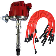 Red 90 Spark Plug Wires Hei Distributor And 10.5 Mm For Sbc Bbc 305 350 454 V8's