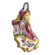 Continental Majolica Pottery Holy Water Font, Hand Painted St. Veronica C1800