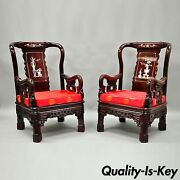 Pair Of Oriental Chinese Throne Lounge Chairs Living Room Mop Inlaid Carved Wood