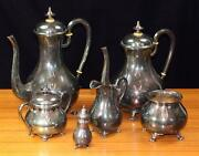1950s Mid-century Sterling Silver Coffee And Tea Set W/bakelite By Ferner - 996