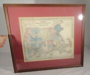 Antique Coltonand039s Atlas Map Massachusetts Boston Johnson And Browning Lithograph