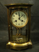 Antique French Crystal Regulator Clock Bow Front C.1900