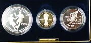 1994-w And S Gold 5 Silver 1 50 Cents World Cup Commem 3 Coin Proof Set In Ogp
