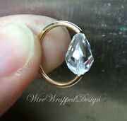 Captive Bead Ring Made With Clear Crystal 16/14/12ga Gold Silver Etc