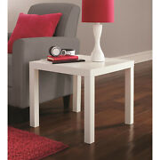 White Modern Square End Table Sofa Plant Lamp Stand Living Room Accent Furniture