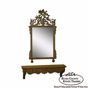 Decorative Crafts French Louis Xv Style Carved Wall Mirror W/ Shelf