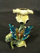 Beautiful Jeweled And Enameled Floral Candle Holder, Butterfly