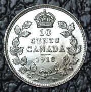 Old Canadian Coin 1918 - 10 Cents - .925 Silver - George V - Wwi Era - Lustre