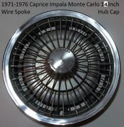 1971-1976 Chevy Impala Caprice Monte Carlo Wire Spoke Stainless Steel Hub Cap D