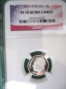 2011-s Silver Ngc Proof-70 Ultra Cameo Roosevelt Dime Flag Label