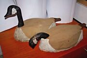 Antique Primitive Wood And Canvas Goose Decoys Canadian Geese
