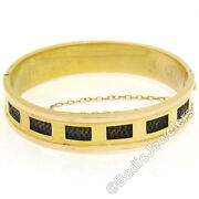 Rare Antique Victorian 14k Green And Rose Gold Mourning Hair Wide Bangle Bracelet
