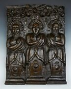 Antique Carved Architectural Wooden Figural Plaque 17th C.