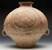 Neolithic Chinese Terracotta Twin Handled Jar 3rd Millennium Bc