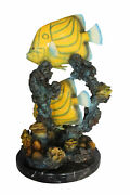 Two Butterfly Fish Swimming Bronze Statue - Size 12l X 12w X 24h.