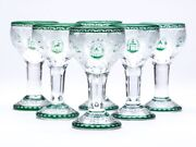 Six Bohemian Etched Green Overlay Liquer Glasses C.1900