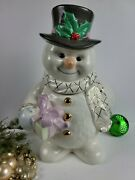Lenox Figurine Cookie Jar And Lid Snowman Christmas Collection - Discontinued