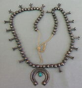 Old Vintage Native American Silver Turquoise Squash Blossom Necklace