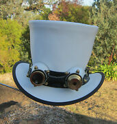White Leather Men And Womens Retro Style Steampunk Top Hat W. Aviator Goggles