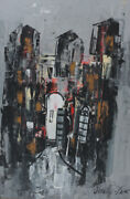 Shaul Ohaly Israeli 1922-2003 Gouache Painting On Paper, Abstract Cityscape