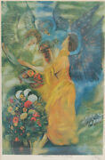 Rueven Rubin Color Lithograph, Abraham And The Three Angeles, Signed In Plate.