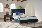Blue Woven Mid Century Modern Retro Style King Bed Bedroom Furniture