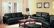 Black Faux Leather Sofa And Loveseat Living Room Furniture Set