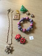 Vintage Costume Jewelry Lot Earring Brooch Necklace Pin Xmas Holiday Seasonal