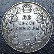Old Canadian Coin 1916 - 50 Cents - .925 Silver - George V - Wwi Era - Nice