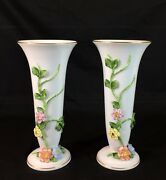 Rare, A Pair Of Herend 8-3/4h Vases W/ Applied Flowers, Vines And Leaves 6750