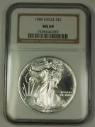 1989 American Silver Eagle Ase Dollar 1 Coin Ngc Ms-69 Nearly Perfect Gem