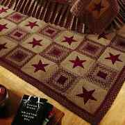 Country Star Wine Braided Rectangle Area Rug By Ihf Rugs. Many Sizes. Red/tan