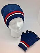 New Disney Parks Winter Knit Beanie Hat Cap And Knit Gloves Set Adults