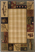Hudson By Oriental Weavers. Transitional Lodge Area Rug. Red/green/tan 1065b