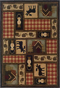 Hudson By Oriental Weavers. Transitional Lodge Area Rug. Black/beige/red 1067a