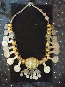 Moroccan Berber Enameled Egg Necklace With Amber, Early 20th Century.