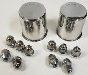2 Trailer Wheel Lug And Cap Sets - Stainless Hub Cover 5 Ss Lugs 3.19in. Center