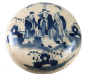 Antique Chinese Porcelain Blue And White Round Seal Paste Box Sanxing Deities