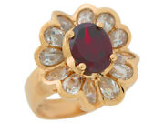 10k Or 14k Gold Simulated Garnet White Cz Petals Ladies January Flower Ring
