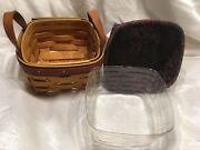 New Longaberger 1999 Fathers Day Tee Basket Combo Liner Protector Leather Handle