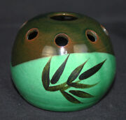 Vintage Flower Frog Vase MCM Mid Century Signed But Can't Read HELP S in R Green