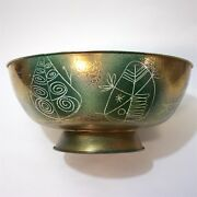 Enamel And Gold Metal Punch Bowl Made By Edward Winter In United States