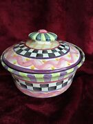 Mackenzie Childs Piccadilly Ceramic Lidded Casserole Knob Top - Retired