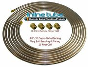 Copper Nickel Fuel Line Tubing Kit 3/8 Od 25 Ft Coil Roll And 5/8-18 Fittings Cn6