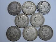 1869 - 1903 Spain First Republic Alfonso 1 Peseta Lot 8 Different Coins Silver.-