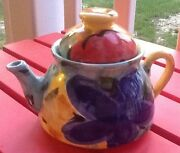 Italian Made Teapot Hand-Crafted Painted Ceramic Pottery Colorful Design