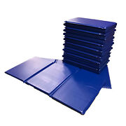 10x Kids Triple Folding Nursery Sleep Mats - Blue For Children And Toddlers