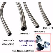 Stainless Steel Braided Hose Rubber Fuel Line Hose Petrol Pipe Oil Coolant